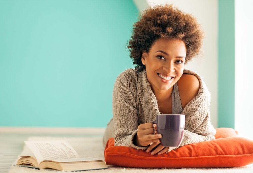 Black woman relaxing at home